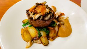 The Bison Restaurant and terrace Beef Filet Mignon