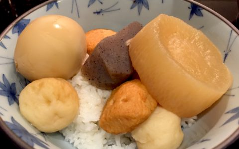 A bowl of oden on rice by Cobra Chomp