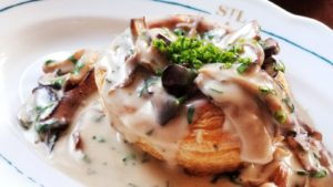 St. Lawrence Restaurant Mushroom in a white & sauce with puff pastry shell